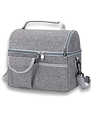 Izolowana torba na lunch, dwie przegrody torba na lunch dla mężczyzn kobiet wielokrotnego użytku wodoodporna miękka duża torba chłodząca na lunch z paskiem na ramię do pracy, szkoły, na zewnątrz, kemping, grilla, w podróży (szara)