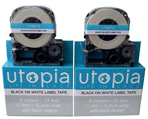 2-PACK of Utopia Compostable Biodegradable Shell Eco-Friendly Alternative Label Tape Refill Cartridge for Epson LabelWorks LW-300 LW-400 LW-500 LW-600 LC-4WBN9 (Black on White)