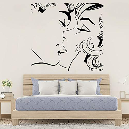 Adhesivos Pared Patrón de Beso Abstracto Pareja Principal Accesorios de decoración de Dormitorio Sala de Estar romántica Baldosa de Vinilo 52x50cm