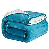 Hansleep Sherpa-Fleece-Überwurf, groß, King-Size-Größe (270 x 230 cm), flauschig, ultraweich, wendbar, für Sofa & Bett, Blaugrün