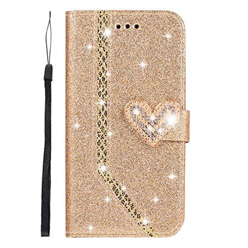 Homikon Bella Custodia in PU Pelle 3D Amore Brillantini Glitters Portafoglio Flip Case Supporto Stand Cover slot per schede Copertura Caso Bumper Compatibile con iPhone 6 Plus/6S Plus - D'oro