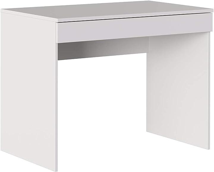 Scrivania con cassetto, moderno, tavolo ufficio a casa, studio, porta pc, 100x55,5x76 cm, bianco iconico home CF119001