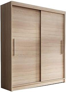 E-MEUBLES Armoire de Chambre avec 2 Portes coulissantes | Penderie (Tringle) avec étagères (LxHxP): 150x200x61 LARA 04 (So...