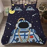 Vscdye Serie Espacial Niños Dibujos Animados 3D Ropa De Cama Ropa De Cama Individual Funda Nórdica Set Planet Pattern Boys173X218Cm