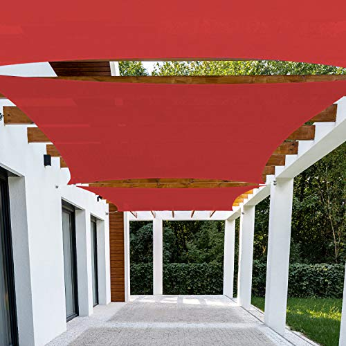 Patio Paradise 16' x 20' Red Sun Shade Sail Rectangle Canopy - Permeable UV Block Fabric Durable Outdoor - Customized Available