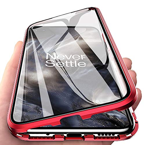 EabHulie OnePlus Nord Case, 360° Full Body Transparent Tempered Glass with Magnetic Adsorption Metal Bumper Case Cover for OnePlus Nord Red