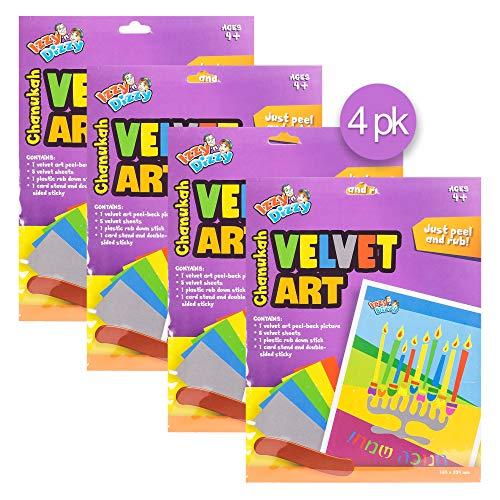 Izzy 'n' Dizzy Hanukkah Velvet Art Kit - 4 Packs of 6 Markers, 1 Velvet Poster - 12' x 8.5'- Chanukah Arts and Crafts - Gifts and Games