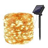 【Alimentata da energia solare】Durante il giorno, il pannello solare efficiente converte la luce solare in energia elettrica immagazzinata nella batteria ricaricabile integrata, quindi le luci della stringa si accenderanno automaticamente di notte.Fun...