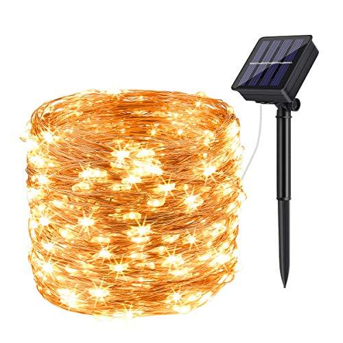 Solar Lichterkette Aussen,DeepDream 20M 200LED Solar Lichterkette Außen Wasserdicht KupferDraht Weihnachtsbeleuchtung für Garten, Balkon,Hof, Hochzeit, Party (Warmweiß) [Energieklasse A+++]