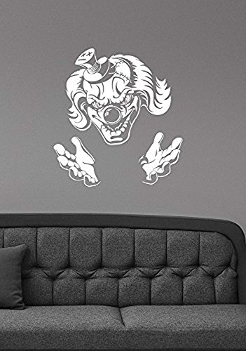 Demonic Evil Clown Wall Decal Circus Scary Jester Vinyl Sticker Halloween Sinister Art Decorations for Home Room Bedroom Decor scw1