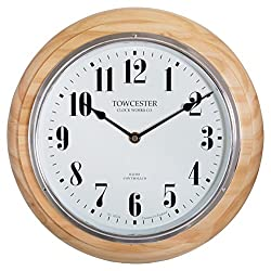 Acctim Radio Controlled Round Wooden Pine Wall Clock with Clear Full Figure Arabic Dial, Haswell 74471