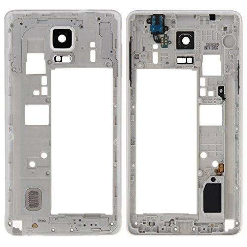 High-end Best Replacement Parts Middle Frame Bazel Back Plate Housing Camera Lens Panel With Speaker Ringer Buzzer And Earphone Hole Compatible With Samsung Galaxy Note 4 / N910V ( Color : White )