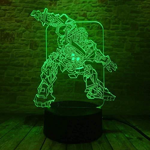 Led-transformator, 3D-nachtlampje, 7 kleuren, 2 modi, USB aangedreven voor kinderen, slaapkamer, nachtkastje, lampje, feestdecoratie, jongens, meisjes, kinderen, cadeau