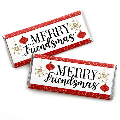 Big Dot of Happiness Red and Gold Friendsmas - Candy Bar Wrapper Friends Christmas Party Favors - Set of 24