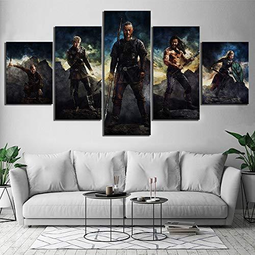 Arte de la Pared Lienzo Pintura Imagen 5 Panel Vikingo película decoración del hogar HD impresión Moderno póster Dormitorio Modular