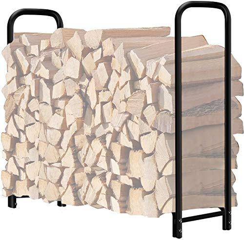 Amagabeli 4ft Firewood Rack Outdoor Log Rack Holder Fireplace Heavy Duty Wood Stacker Patio Deck...