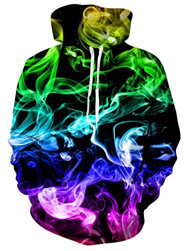uideazone Men's Warm Hoodies 3d Colorful Smoke Printed Hooded Sweatshirt Winter Long Sleeve Pullover...