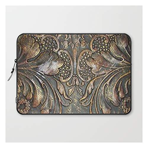 Golden Brown Carved Tooled Leather by The Ghost Town on Laptop Sleeve - Laptop Sleeve - 15'