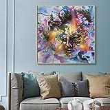 Pintura al óleo abstracta moderna imagen de lienzo de acuarela con flores en la cabeza de la madre en el arte de la pared pintura al óleo impresiones del arte pop pintura sin marco 70X70 CM