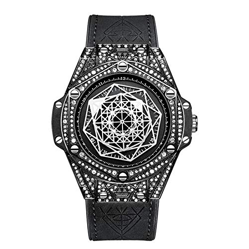 Reloj De Moda De La Moda De Diamante, Reloj De Cuarzo Deportivo A Prueba De Agua para Hombre,Negro