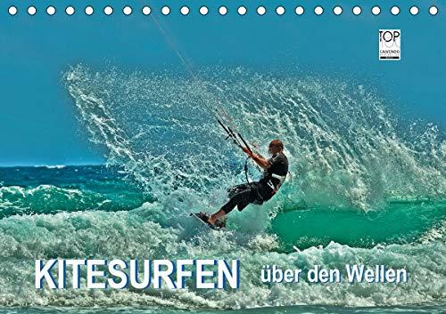 Kitesurfen - über den Wellen (Tischkalender 2021 DIN A5 quer)