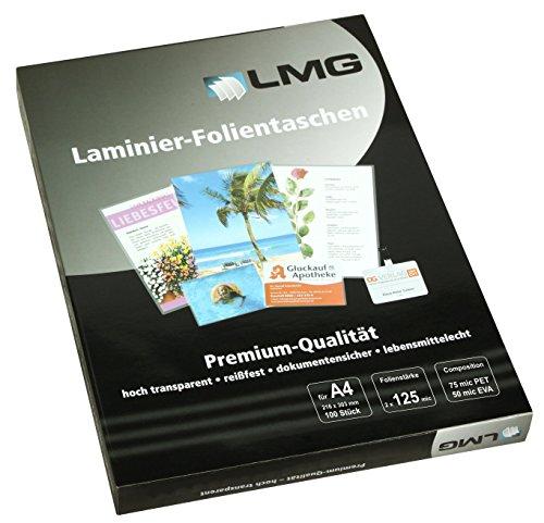 LMG LMGA4-125 Laminierfolien A4, 216 x 303 mm, 2 x 125 mic, 100 Stück