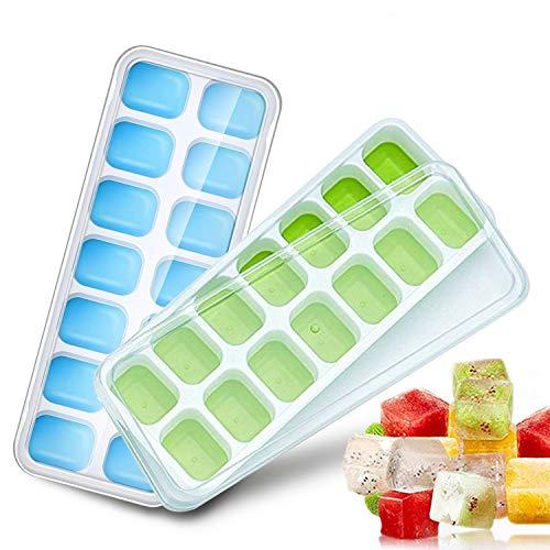 HyAdierTech Eiswürfelform Silikon Eiswuerfel Mit Deckel Ice Cube Tray, Kühl Aufbewahren, LFGB Zertifiziert FDA BPA Frei Stapelbar Eiswürfelschalen Eiswürfel Babynahrung, Für Bier, Wein, Wasser