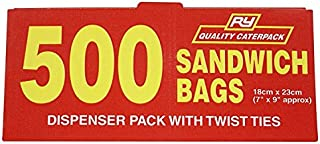 Caterpack Sandwich Food Bags | 500 Pack | Twist Ties | Freezer Safe