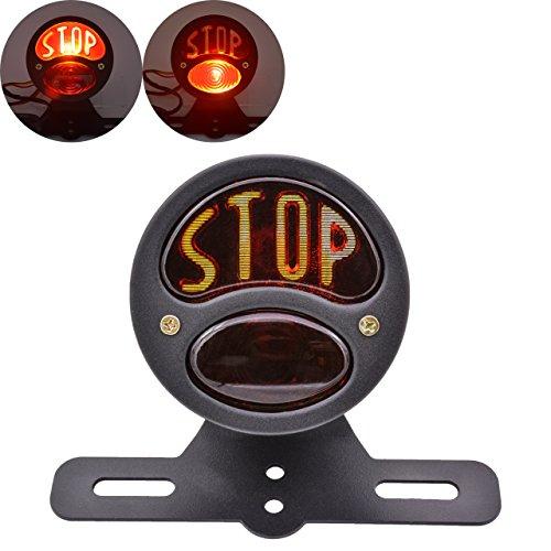 KaTur - Luce Stop per fanale posteriore moto,con alloggiamento in ferro, da 12 V