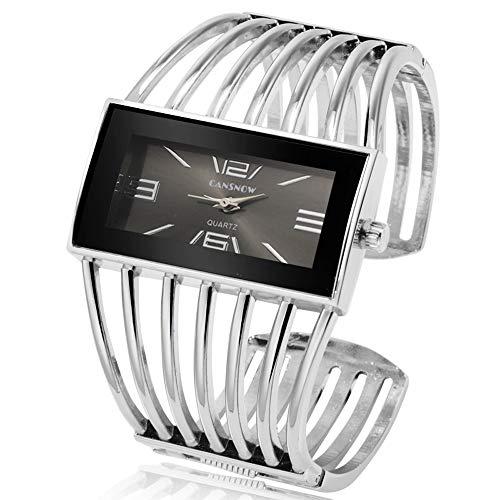 Women Luxury Cuff Bracelet Rectangular Dial Hollow Analog Quartz Wrist Watch for Ladies (Silver)