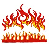 Graphic Dust Flames Fire Biker Motorcycle Racing Hot Fireball Tattoo Heavy Metal Car Applique Embroidered Iron On Patch
