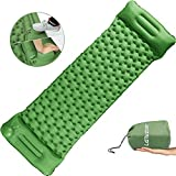 Laluztop Inflatable Sleeping Pad, Hand Pump Ultralight Sleeping Mat Camping Mattress w Pillow Compact Air Mat,...