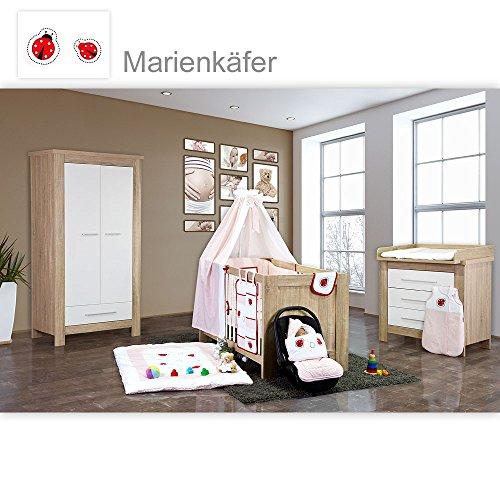 Babyzimmer Enni 21-tlg. in der Farbe Sonoma/Weiß 21-tlg. mit 2 türigem Kl. + Textilien Marienkäfer, Rot