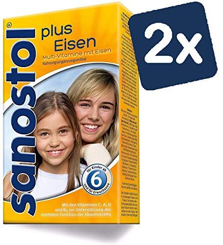 Sanostol plus Eisen: Multi-Vitamine für Kinder ab 6 Jahren und Erwachsene, mit Vitaminen und Eisen, 2x230ml