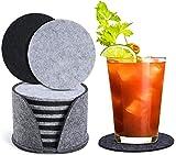 Moseem Untersetzer Gläser 12er Set, Filz Untersetzer für Gläser(6 Schwarz+6 Grau) Glasuntersetzer-Set mit Aufbewahrungsbox für Gläser,Heiße Tassen,Töpfe,Teetassen