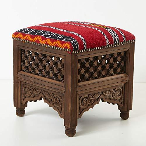 Casa Moro Marokkanischer Hocker Sana orientalischer Polsterhocker 42 x 42 Sitzhöhe 45 cm | Handmade Fußhocker mit handgeknüpftem Kelim-Bezug | Schöne Dekoration EIN Traum aus 1001 Nacht | KH2020