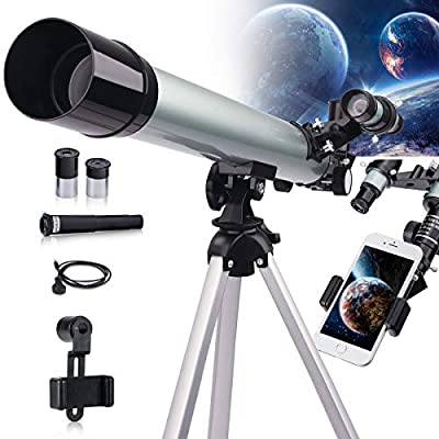 Astronomical Telescope for Kids and Astronomy Beginners, 600mm/50mm Good Partner to View Landscape and Planet, with Tripod, Phone Adapter, Shutter Remote