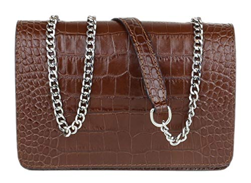 W 19, H 12, D 4.5 cm (W 8, H 5, D 2 inches) Genuine italian croc print leather clutch bag. The bag is fully lined inside and has a zipped small compartment. Comes with detachable shoulder chain strap. The perfect accessory for your outfit.