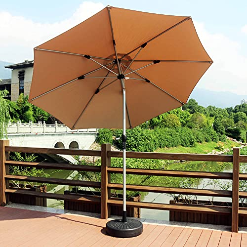 ACXZ Sombrilla Grande de Aluminio para Patio de 270 cm con inclinable y manivela, Parasol de Mercado de jardín, sombrilla de Playa al Aire Libre (Verde Oscuro/Rojo Vino/Caqui)