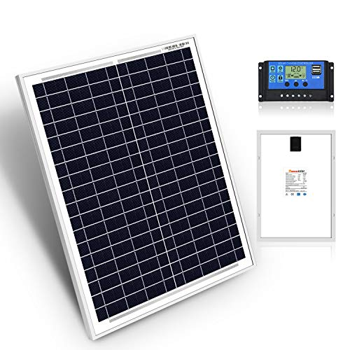DOKIO 20W Kit de Paneles Solares Policristalinos CON REGULADOR solar para carga 12V Batería FáCIL DE LLEVAR Ideal para caravana, barco, cobertizo, automóvil, autocaravana, camping