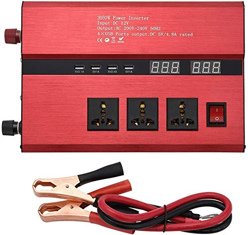 Hammer 1500 (Pico de 3000W) Car Power Inverter DC 12V / 24V a 110V / 220V AC convertidor, USB inversor, Onda sinusoidal Pura inversor de la energía, de Carreteras, Coches, Barcos (Size : 24V/220V)