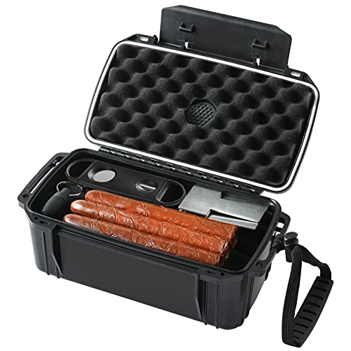 Woodelric Travel Cigar Humidors with Cigar Accessories & Spanish Cedar & Humidifier Hold 10-15 Count -Cigar Travel Case Waterproof Case, Crushproof, Airtight Seal Portable Travel Humidor Case.