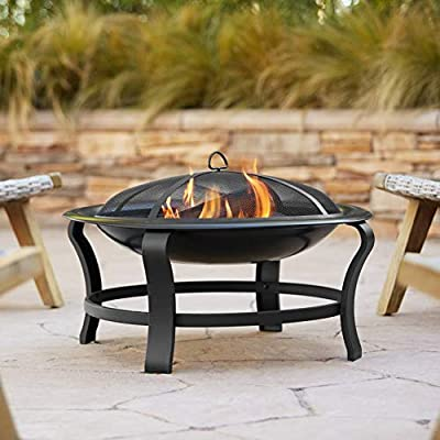 """John Timberland Prentiss Black Iron Outdoor Fire Pit Round 30"""" Steel Wood Burning with Spark Screen and Fire Poker for Outside Backyard Patio Camping Deck"""