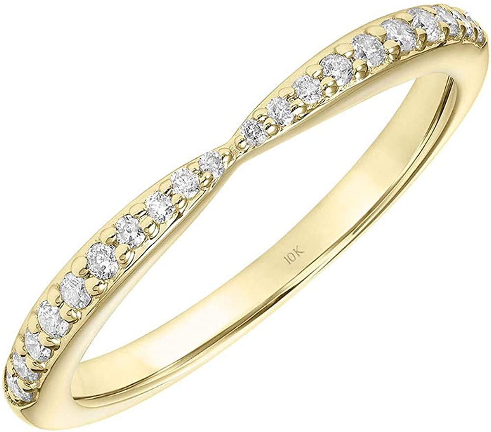 Pinched Classic Diamond Wedding Band or Diamond Anniversary Band for Women in 10K White or Yellow Gold 1/5 Cttw (I-J Color, I3 Clarity) by Brilliant Expressions