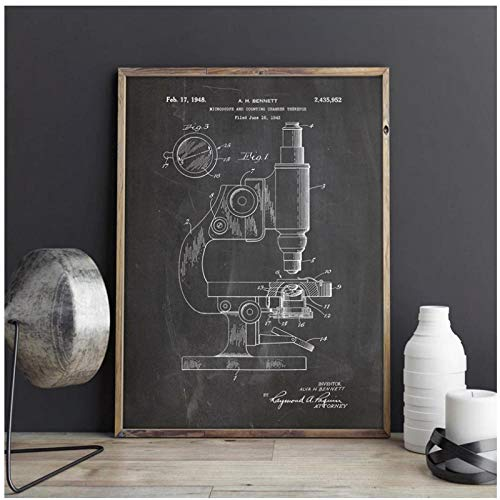 YQQICC Microscope Microscope Wall Art Print Chemistry Posters Science Room Wall Decor Vintage Blueprint Canvas Painting Pictures - 45x60cm Unframed