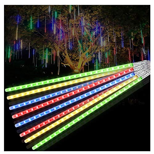 Meteor Shower Lights,iMato 20in 8 Tubes LED Raindrop Lights, Twinkling Waterproof Falling Rain Cascading Icicle Christmas Lights for Holiday Wedding Front Yard Garden Tree Home Party Deco,Multicolor