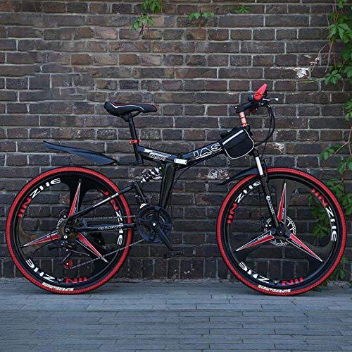Bicicleta de montaña plegable para hombres y mujeres adultos, bicicleta de montaña de doble suspensión de acero con alto contenido de carbono, ruedas de aleación de magnesio,Negro,26inch21 speed