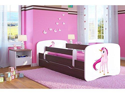 Bjird Kocot Kids Kinderbett Jugendbett 70x140 80x160 80x180 Wenge mit Rausfallschutz Matratze Schublade und Lattenrost Kinderbetten für Mädchen und Junge Einhorn 140 cm