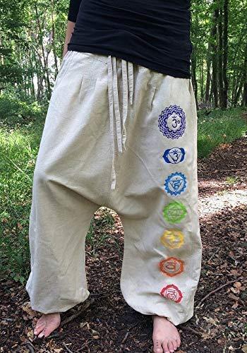 Creme-weiße Yogahose mit den 7 Chakren in Regenbogen Farben