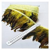 Wholesale 10メートル13-18cmの鶏のルースターテールの羽毛のトリムストリップ (Color : Yellow, Size : 10 yards)